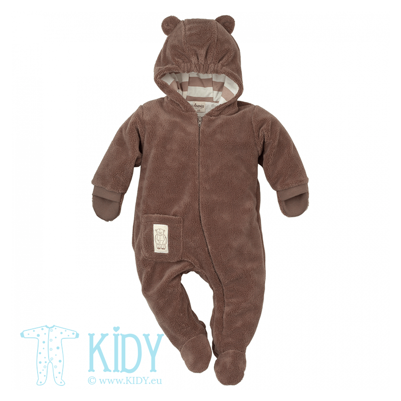 Brown one piece suit LITTLE BEAR with mittens