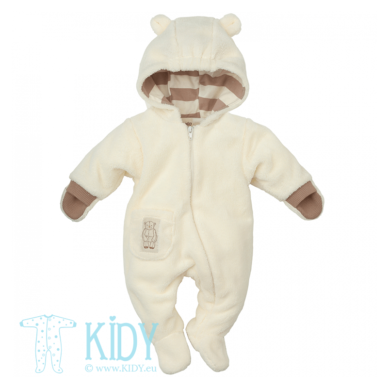 White one piece suit LITTLE BEAR with mittens