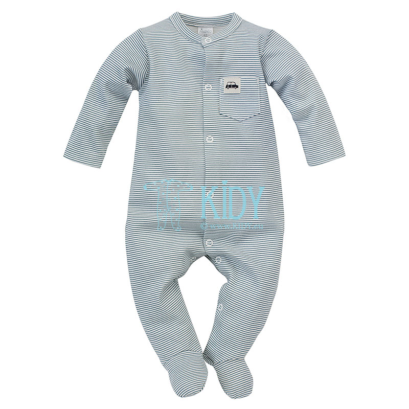 Striped LITTLE CAR sleepsuit