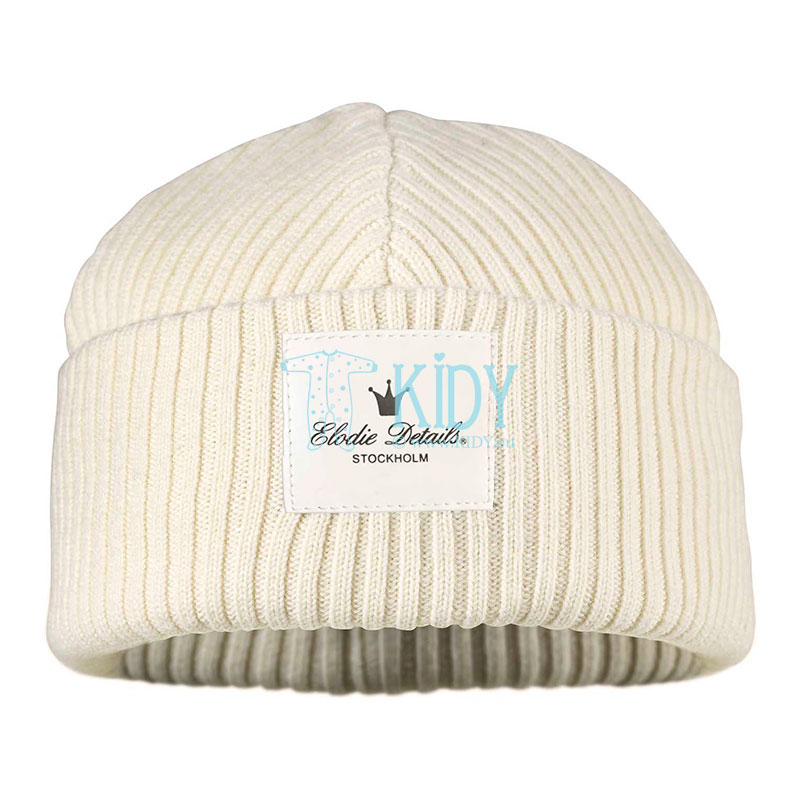 Knitted merino wool Vanilla White cap