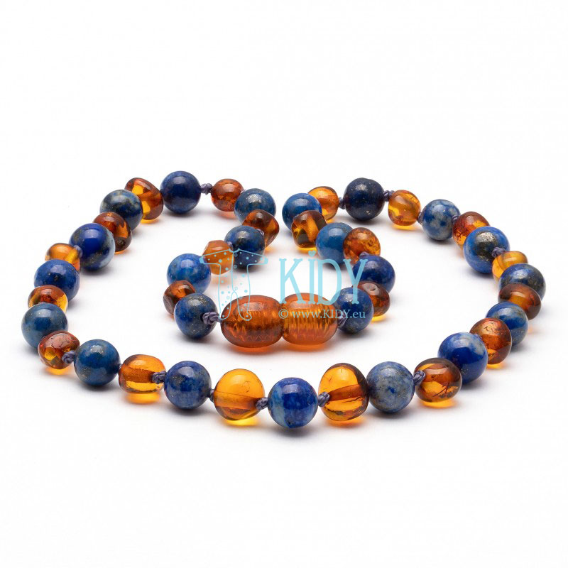 Amber COGNAC teething necklace with lapis lazuli