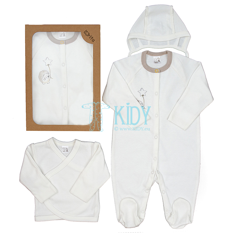 White POOKY set: sleepsuit + easy-shirt + cap