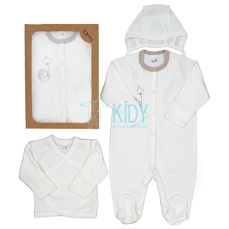Baltas komplektas POOKY: kombinezonas-pižama + siaustinukas + kepurytė