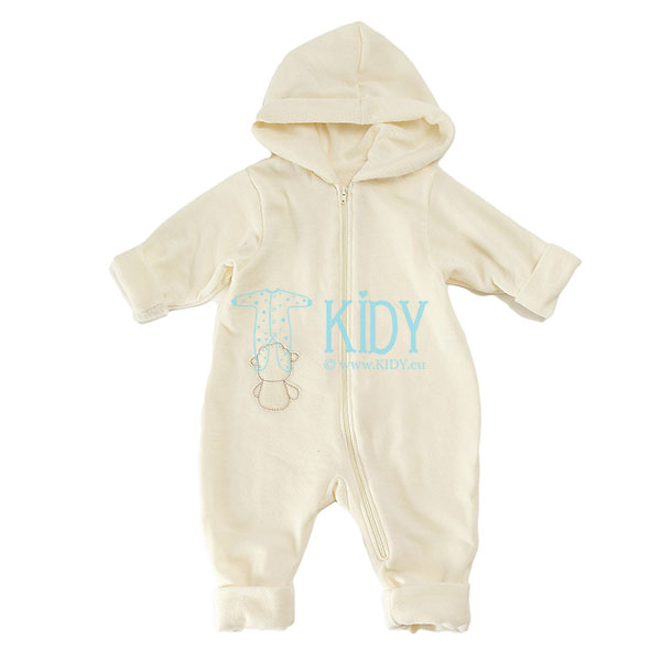 Ivory merino wool hooded DOLLY playsuit