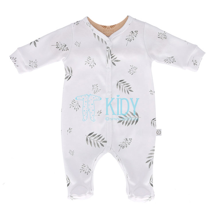 White GREY LEAVES sleepsuit