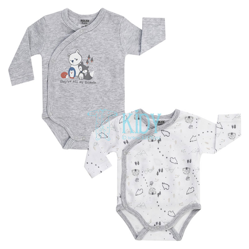 2pcs WHITE BEAR wrap over bodysuit pack