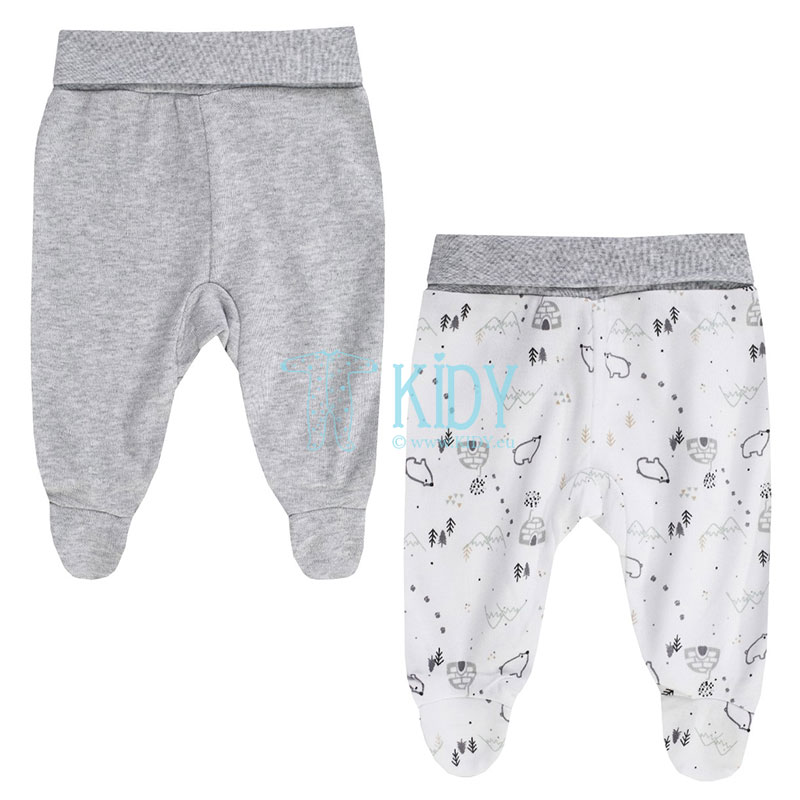 2pcs WHITE BEAR footed pants set