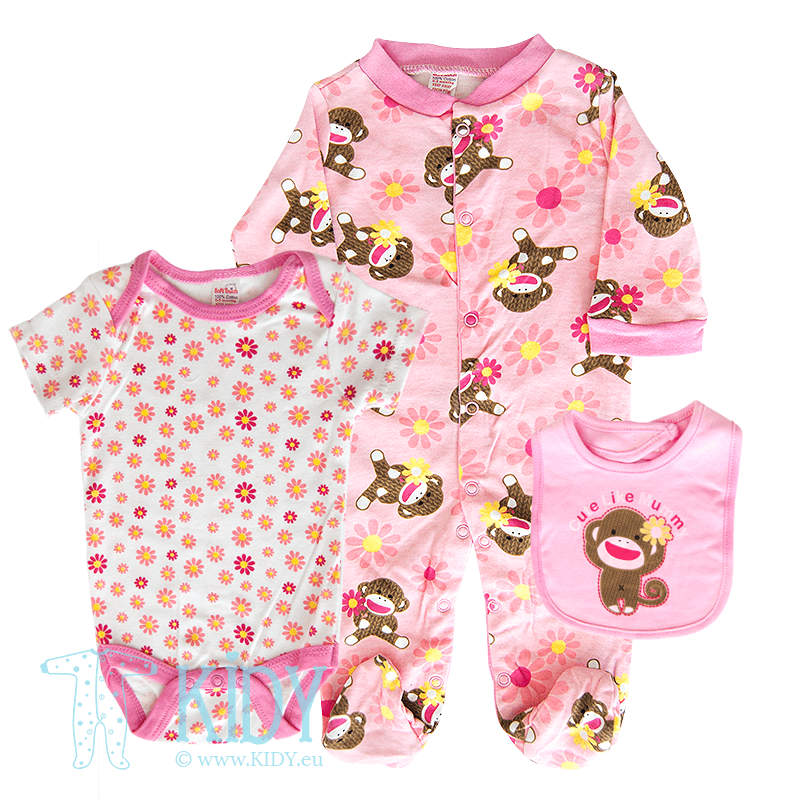 Set CUTE LIKE MUMMY: sleepsuit + bodysuit + bib (Soft Touch)
