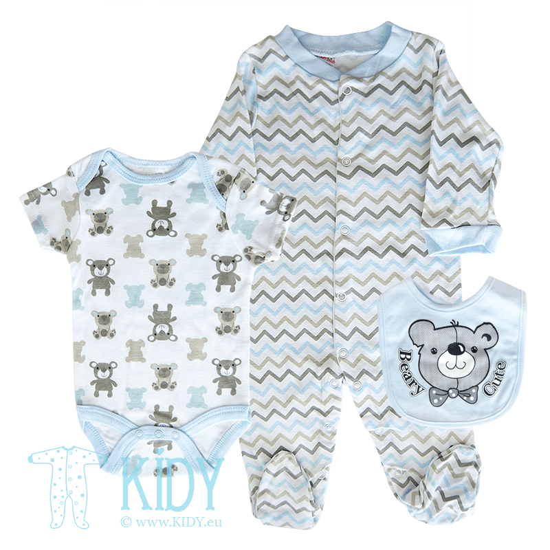 Set BEARY CUTE: sleepsuit + bodysuit + bib