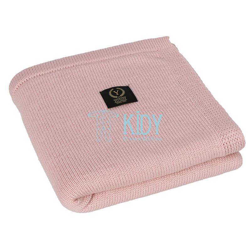Розовый вязаный плед Jersey Jasny brudny róż из шерсти мериноса