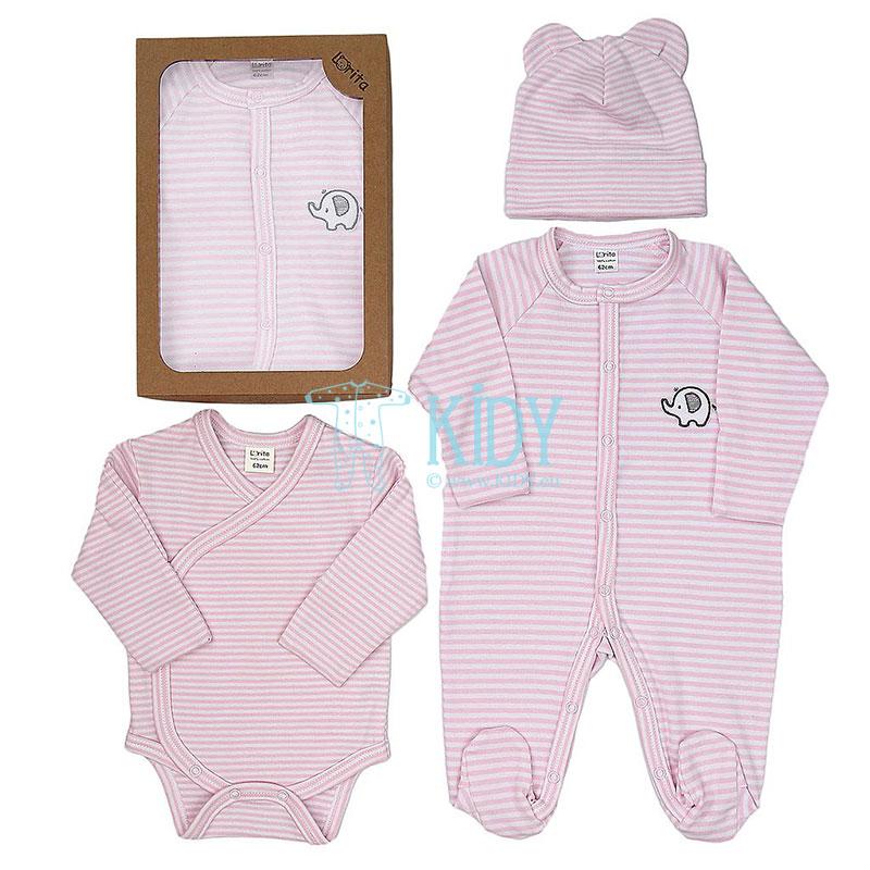 Rožinis komplektas MOMO: kombinezonas-pižama + bodžiukas + kepurytė