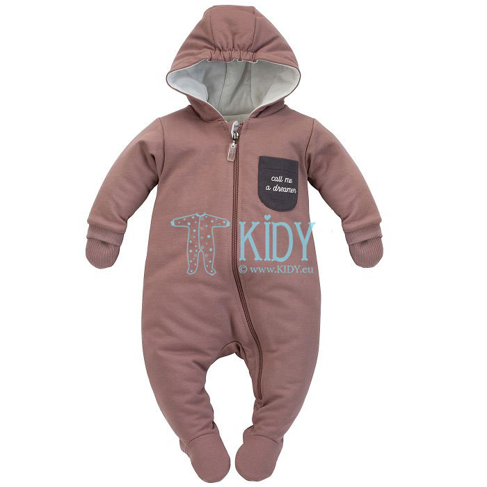 Brown DREAMER snowsuit with mitts