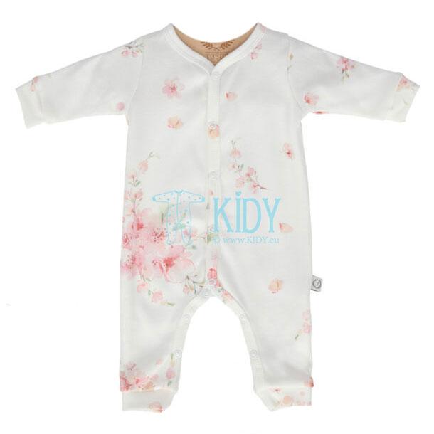 Baltas kombinezonas-pižama JAPANESE FLOWERS