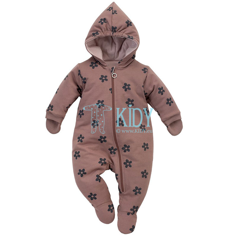 Brown HAPPINESS snowsuit with mitts