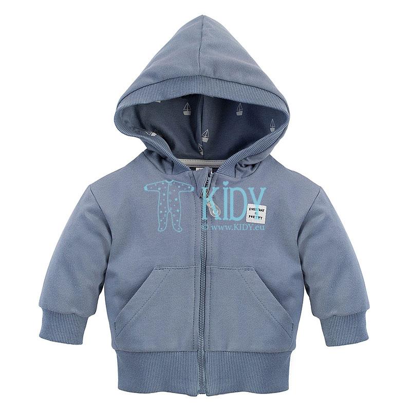Mėlynas SUMMERTIME džemperis su užtrauktuku ir gobtuvu