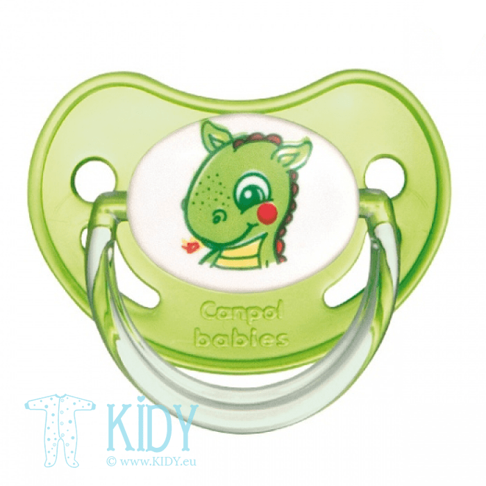Green silicone orthodontic soother SAFARI