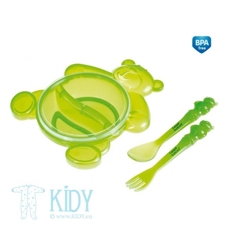 Dubenėlis plastikinis ir įrankiai HAPPY BEAR (Canpol Babies)