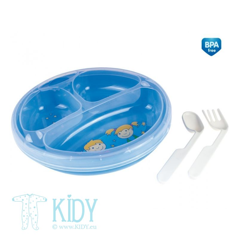 Food warmer plate with cutlery