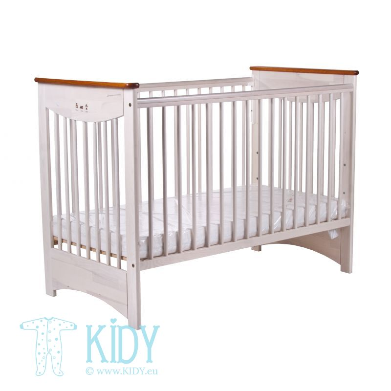 Beige cot LAURA 2 with dropside