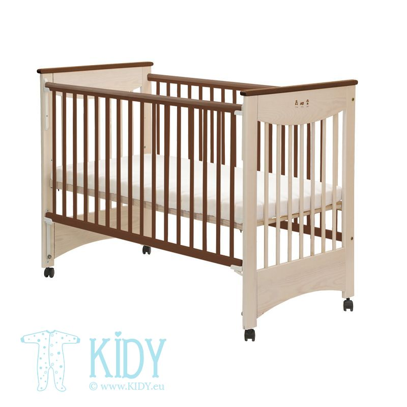 Beige cot MOCCA with dropside