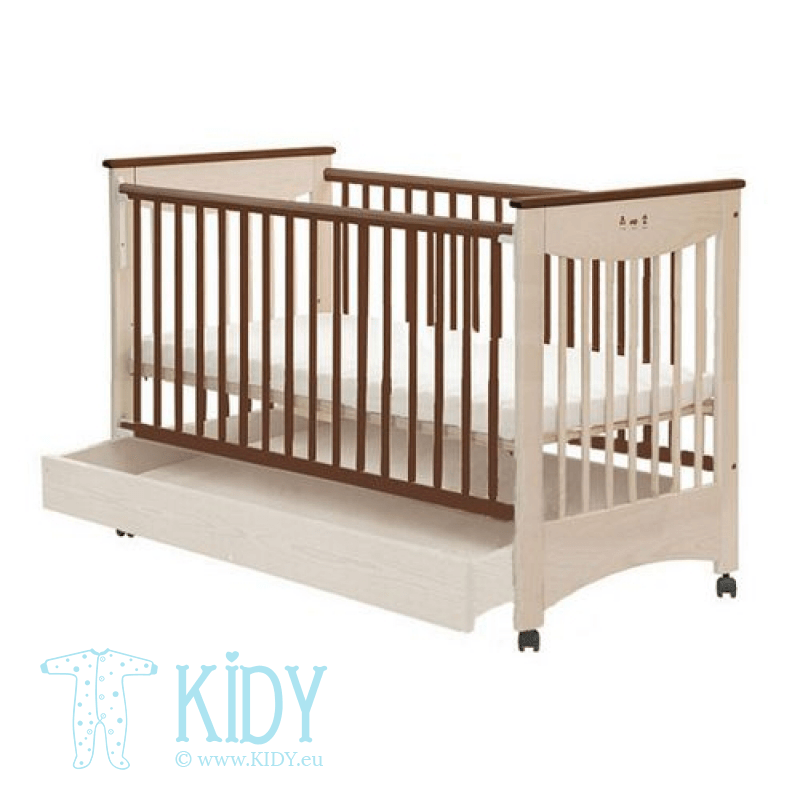 Beige cot MOCCA with drawer