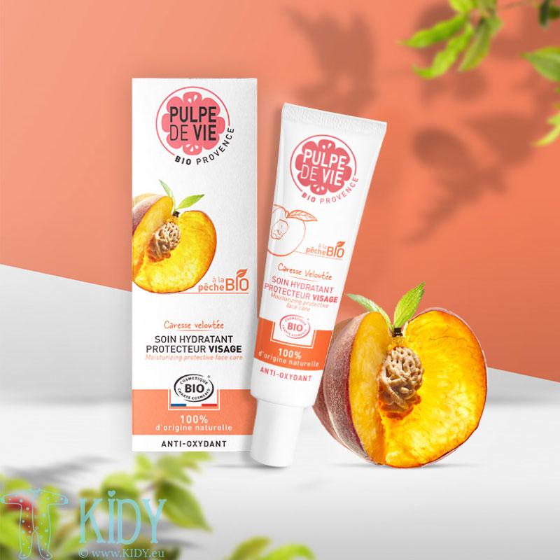 Ekologiškas persikų ir kivių odos apsaugos kremas CARESSE VELOUTÉE