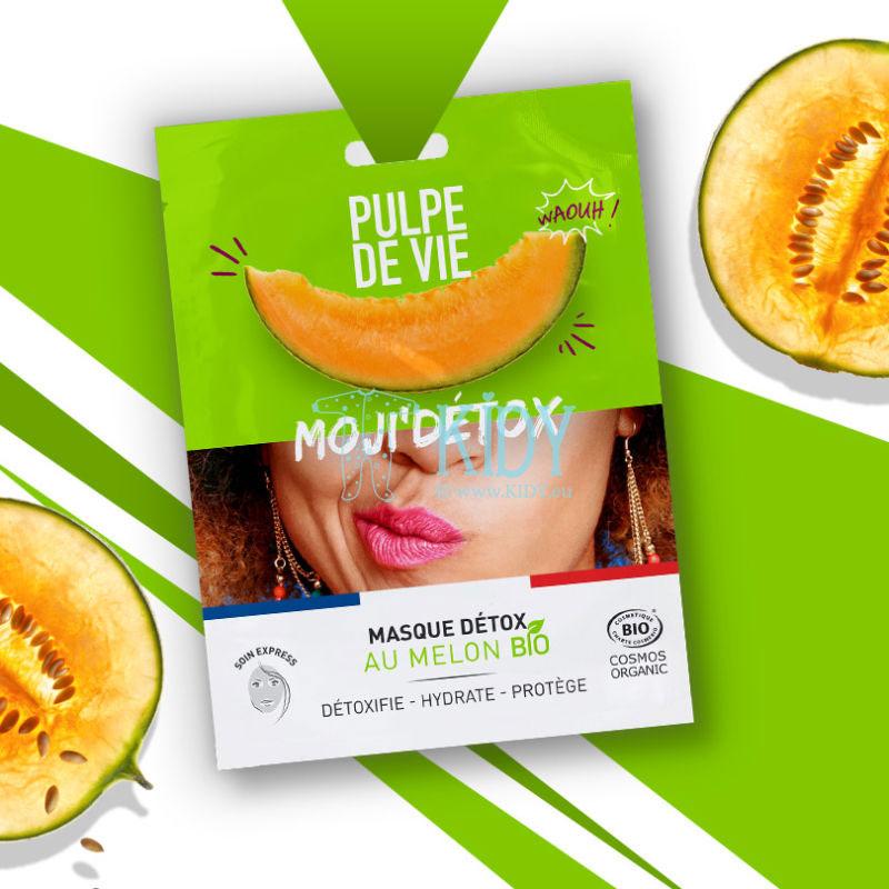 Anti-tarša ir anti-stresas ekologiškos medvilnės kaukė MOJI'DETOX su organiniu melionu