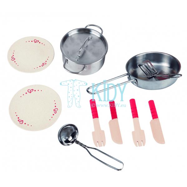 Žaislinė virtuvė su priedais - peiliai, šakutės, lėkštės, keptuvė, puodas (Hape) 2