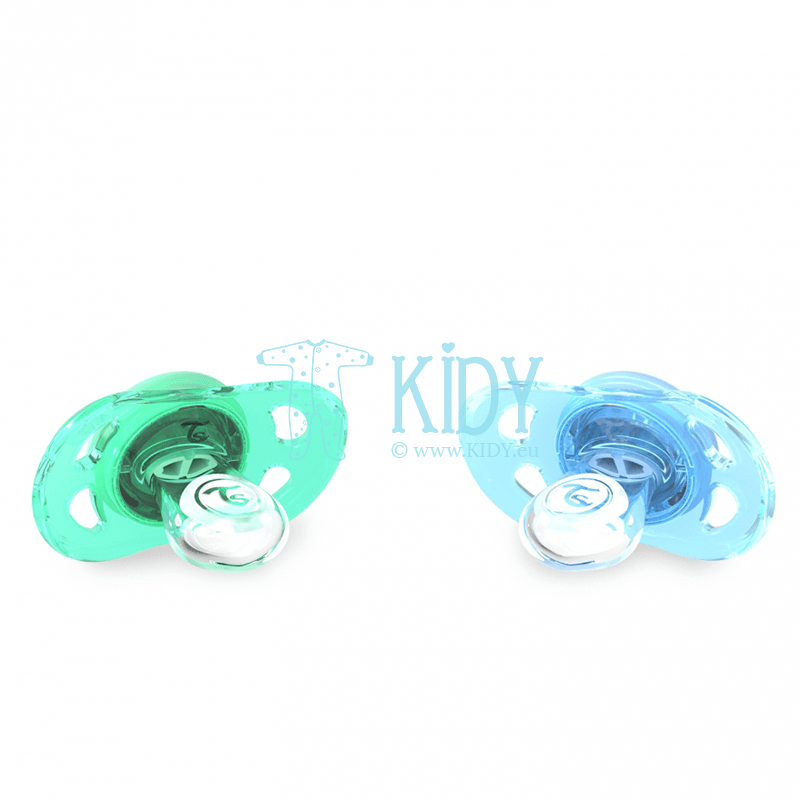 Green and blue BUBBLES pacifiers (Twistshake) 2
