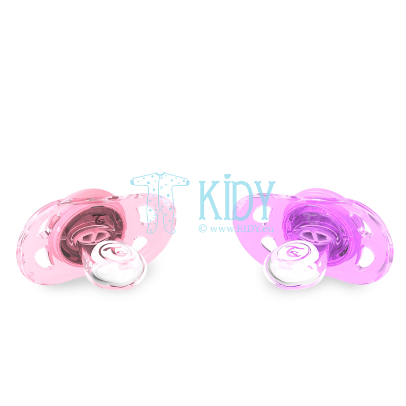 Pink and purple BUBBLES pacifiers (Twistshake) 2