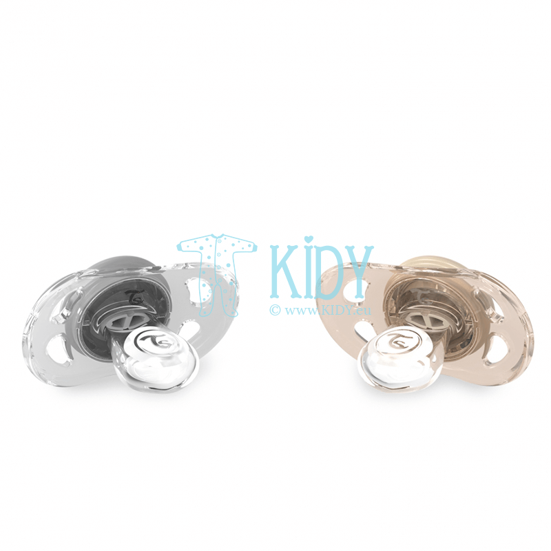 Grey and beige PASTEL BEIGE GREY pacifiers (Twistshake) 2