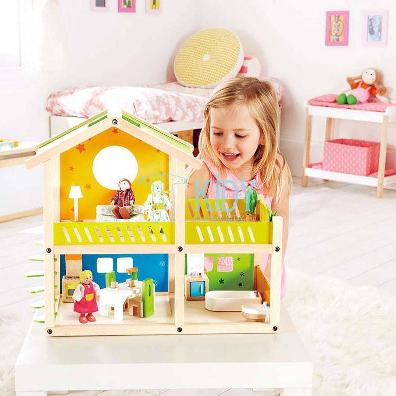 Medinis lėlių namas Linksmoji Vila su baldais (Hape) 2