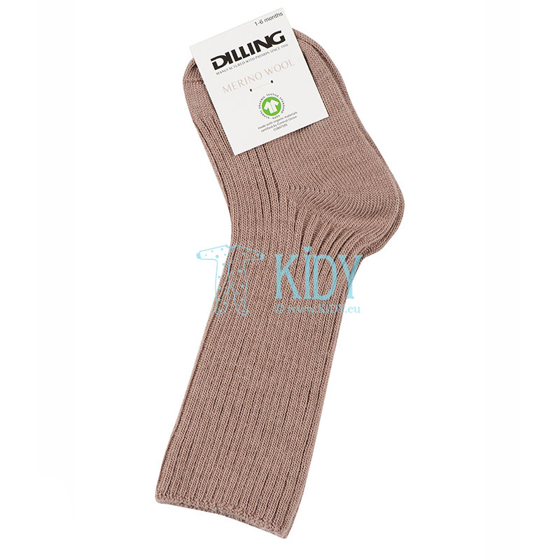 Rudos merino volnos kojinytės OLD ROSE (DILLING) 2