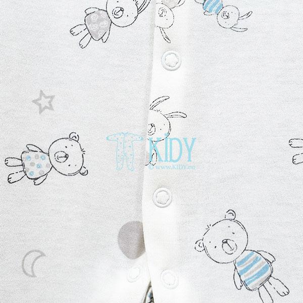 White BEAR & BUNNY sleepsuit