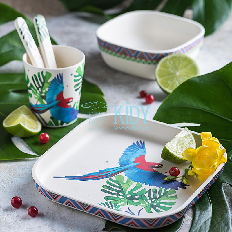 5 pcs bamboo Feathery Mood set of dishes