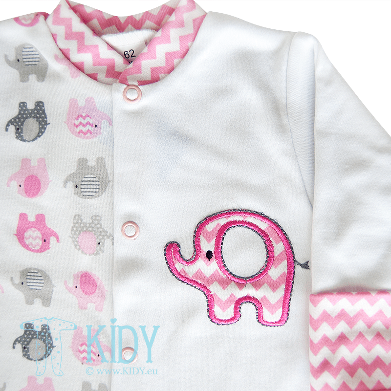 Pink sleepsuit ELEPHANT with mitts (Zuzia) 2