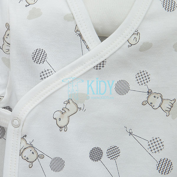 White HIPPO shortsleeved kimono bodysuit