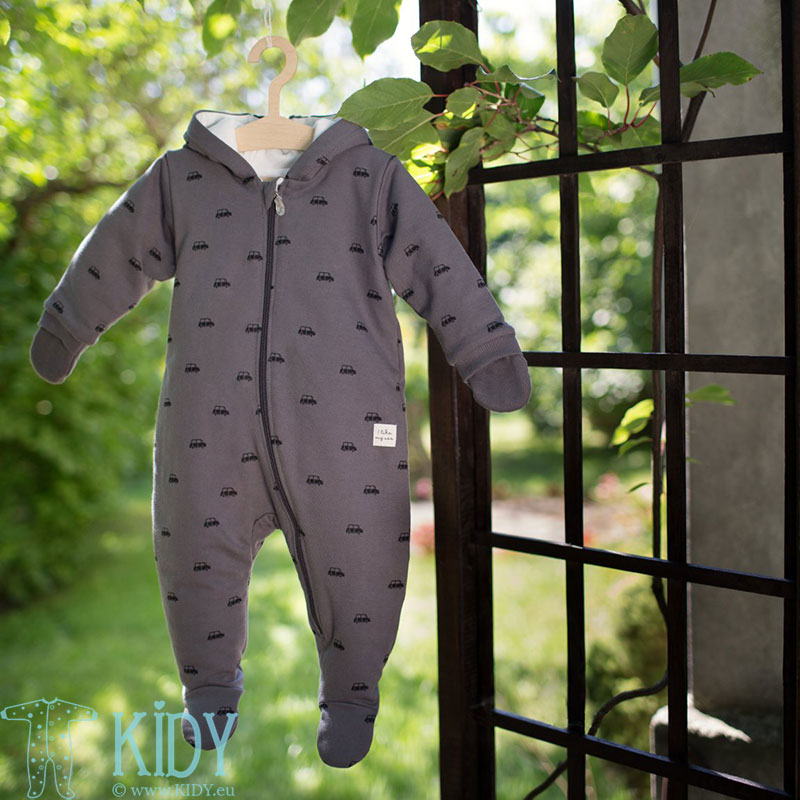 Grey LITTLE CAR snowsuit with mitts