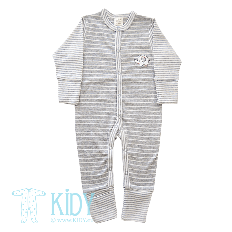 Grey sleepsuit ELEPHANT BOO BOO with mitts and feet