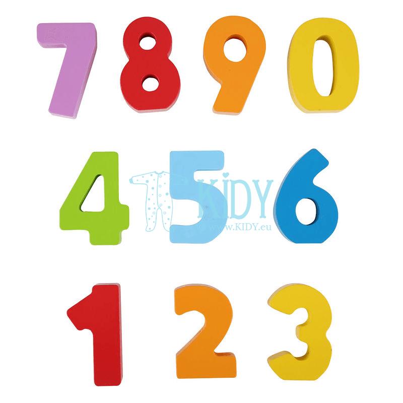 Medinės figūrėlės spalvotos, skaičiai NUMBERS AND COLORS