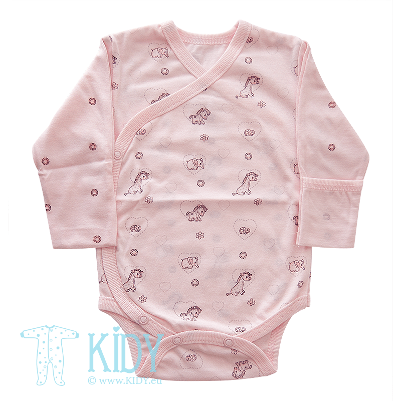 Pink bodysuit MINI ZOO with mitts