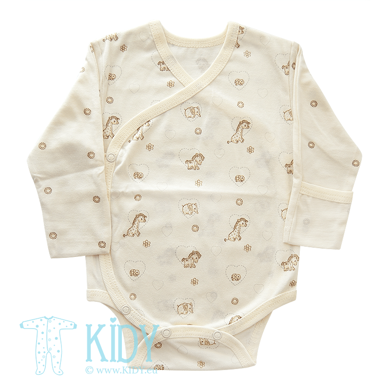 Cream bodysuit MINI ZOO with mitts (Lorita)