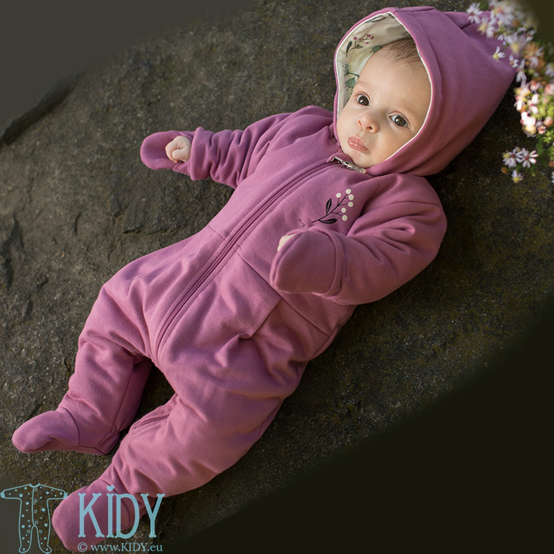 Pink MY GARDEN snowsuit with mitts
