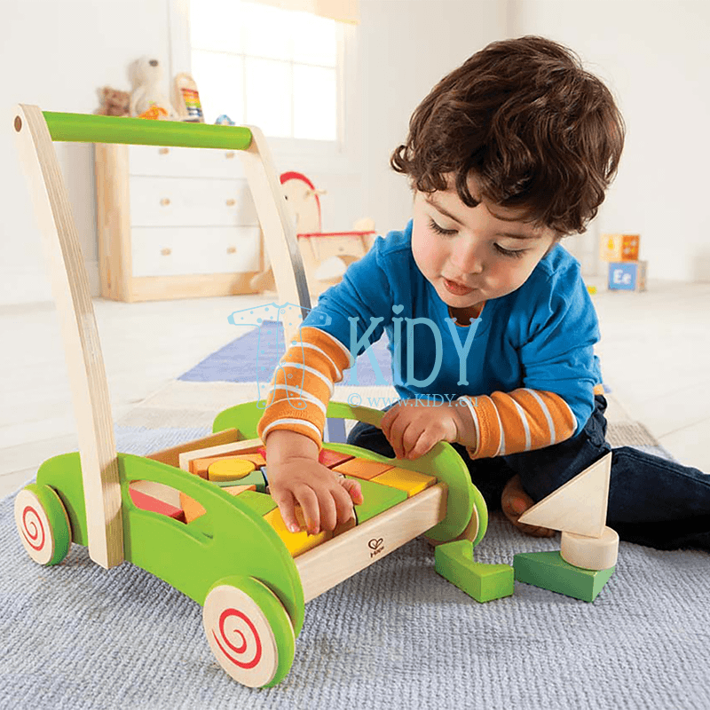 Medinis vežimėlis su kubeliais Block & Roll