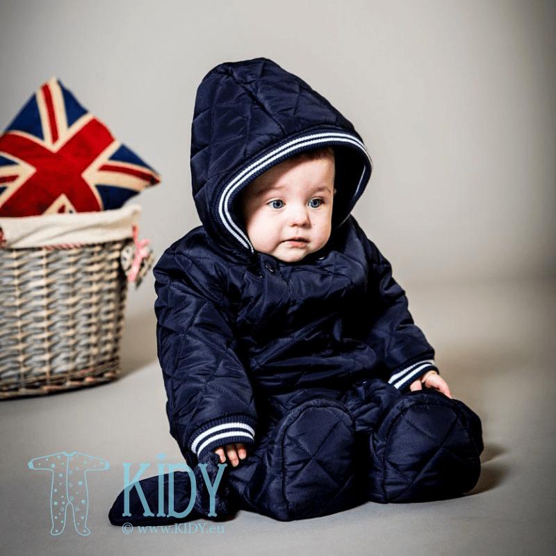 Синий утепленный комбинезон GEO с рукавичками
