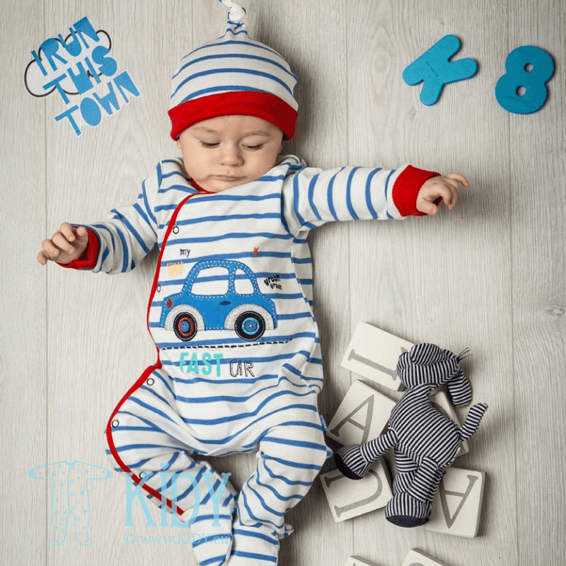 Blue TRANSPORT sleepsuit with hat (Babaluno) 3