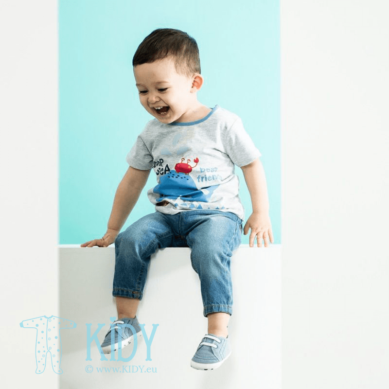 DEEP SEA FRIENDS set: grey T-shirt + jeans