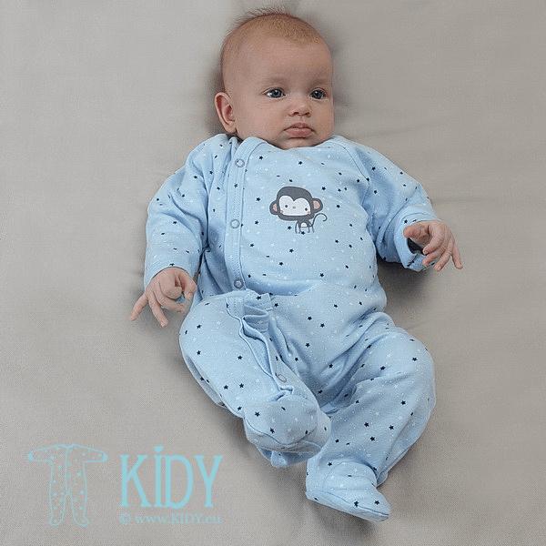 Žydras kombinezonas-pižama PIMKY su pirštinėlėmis