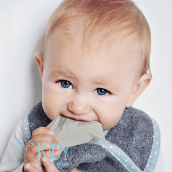 Grey supeRRO bib with teether