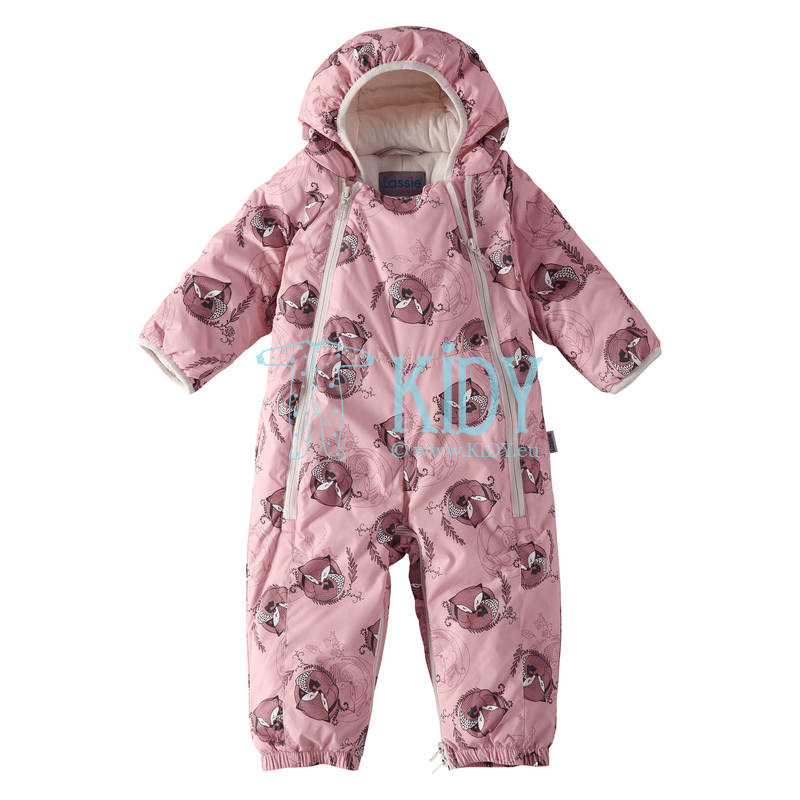 Pink FOX 2 in 1 snowsuit with anti-scratch mitts